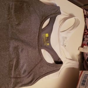 2 sports bras.  Gray and white.  NWOT